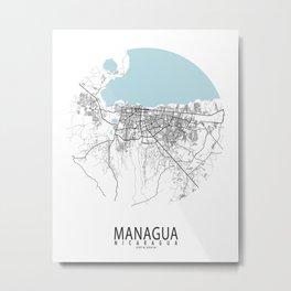 Managua City Map of Nicaragua - Circle Metal Print