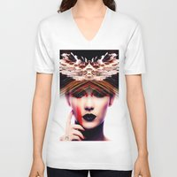 siren V-neck T-shirts featuring Siren by Cash Mattock