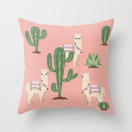 Alpaca with Cacti Throw Pillow