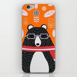 Bear in floral rain iPhone Skin
