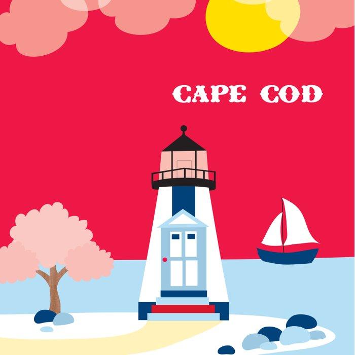 Cape Cod, Massachusetts - Skyline Illustration by Loose Petals Duvet Cover