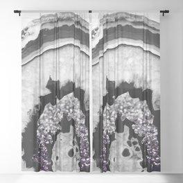 Gray Black White Agate with Purple Black Silver Glitter #1 #gem #decor #art #society6 Sheer Curtain