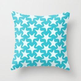 Starfish Robins Egg Blue Seaside Ocean Beach Throw Pillow