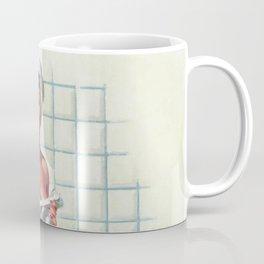 Pin Up Girl in White Bathroom Coffee Mug