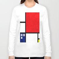 mondrian Long Sleeve T-shirts featuring Mondrian TARDIS by Sama B