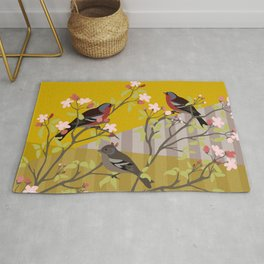 chaffinches in the cherry tree Rug