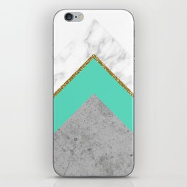 Concrete Teal Triangles iPhone Skin
