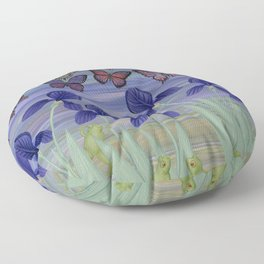 midnight frogs with irises and butterflies Floor Pillow