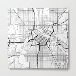 Minneapolis Map, USA - Black and White Metal Print