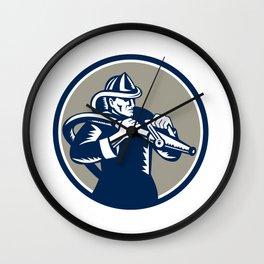 Vintage Fireman Firefighter Aiming Hose Circle Woodcut Wall Clock
