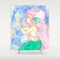 mermaid Shower Curtains featuring Mermaid by Lilolilosa