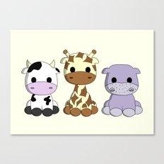 Cute cow giraffe hippo cartoon Canvas Print