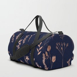 Hand drawn rose gold cute dried pressed flowers illustration navy blue Duffle Bag