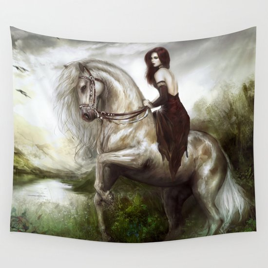 Morning welcome - Royal redead girl riding a white horse Wall Tapestry