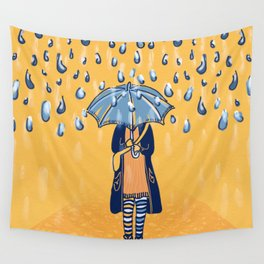Rainy day girl Wall Tapestry