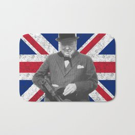 Winston Churchill Posing With A Tommy Gun Bath Mat
