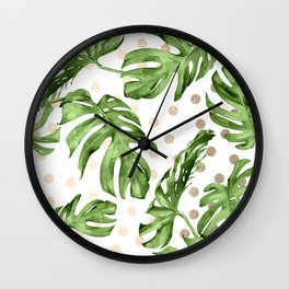 Simply Tropical White Gold Sands Dots and Palm Leaves Wall Clock