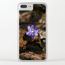 Hepatica nobilis in the humus Clear iPhone Case