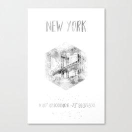 Coordinates NYC Manhattan Bridge | watercolor Canvas Print