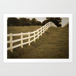 Sepia Aged Fences 2 Rural Landscape Photograph Art Print