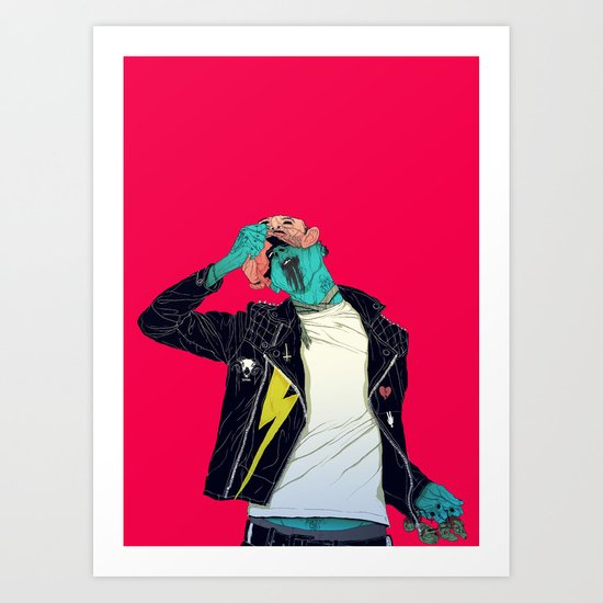 Removing the mask Art Print