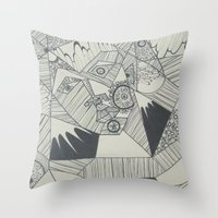 naked Throw Pillows featuring Naked by Annemiek Boonstra