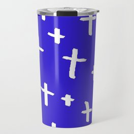 blue white cross Travel Mug
