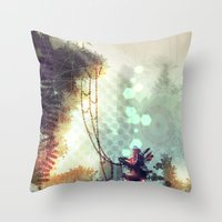 uncharted Throw Pillows featuring Uncharted by Zomby Robin