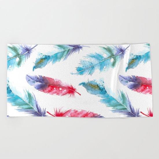 Boho Watercolor feathers Beach Towel