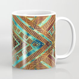 Tribal  Ethnic Boho Pattern burnt orange and gold Coffee Mug
