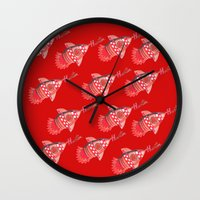 nba Wall Clocks featuring ROCKETS HAND DRAWING DESIGN by SUNNY Design
