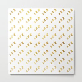 Zzzs Pattern in Gold Metal Print