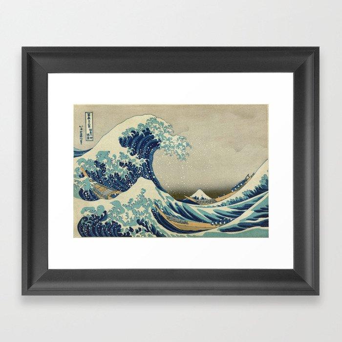 The Classic Japanese Great Wave off Kanagawa Print by Hokusai Gerahmter Kunstdruck