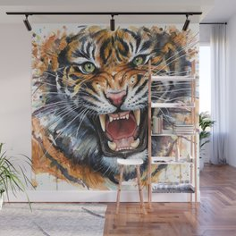 Tiger Watercolor Animal Painting Wall Mural