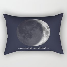 Waxing Crescent Moon on Navy - English Rectangular Pillow