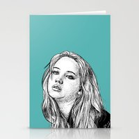 jennifer lawrence Stationery Cards featuring Jennifer Lawrence by Sharin Yofitasari