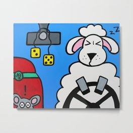 A Sheep at the Wheel Metal Print