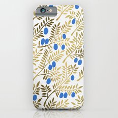 Olive Branches – Gold & Blue iPhone 6s Slim Case