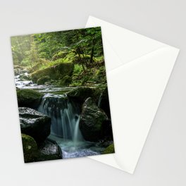 Flowing Creek, Green Mossy Rocks, Forest Nature Photography Stationery Cards