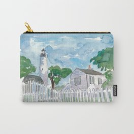 Key West Florida Lighthouse with White Fence Carry-All Pouch