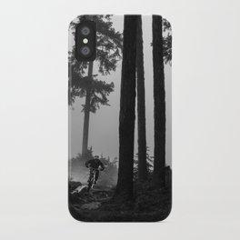 Mountain Biker in the Misty Bike Park iPhone Case