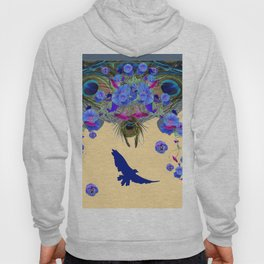 BLUE MORNING GLORIES & FLYING BLUE BIRD ART Hoody
