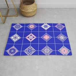 Talavera Mexican Tile – Pink & Periwinkle Palette Rug