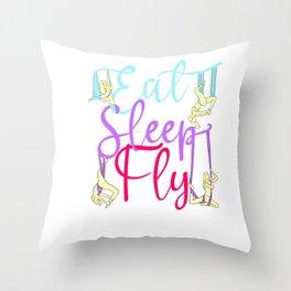 Eat Sleep Fly Repeat Aerial Yoga Silks Throw Pillow