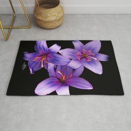 Beautiful Blue Ant Lilies, Flowers Scanography Rug