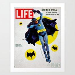 Adam West - Bat Man Life Magazine Cover Art Print
