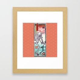 Kyosai's Dancing Skeleton with Auspicious Sayagata Framed Art Print