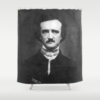 edgar allan poe Shower Curtains featuring Edgar Allan Poe Portrait  by All Surfaces Design