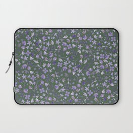 Purple Watercolor Flowers on Green Laptop Sleeve