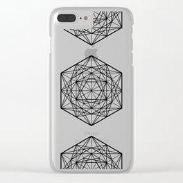 Geometric Mandala (Black) Clear iPhone Case